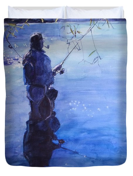 Watercolor Tranquil Fishing Duvet Cover
