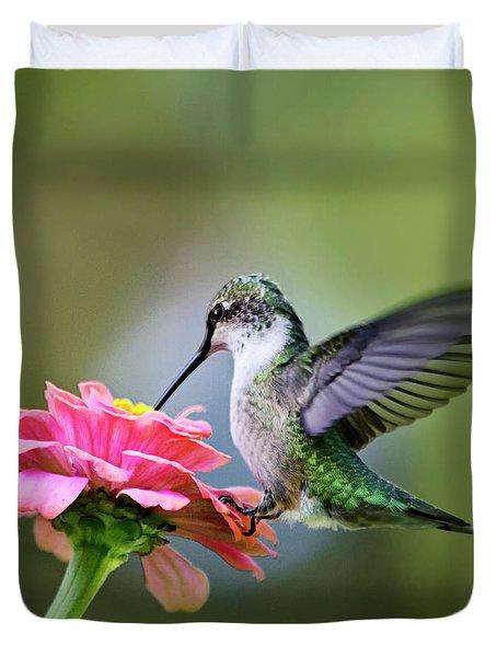 Tranquil Joy Hummingbird Square Duvet Cover