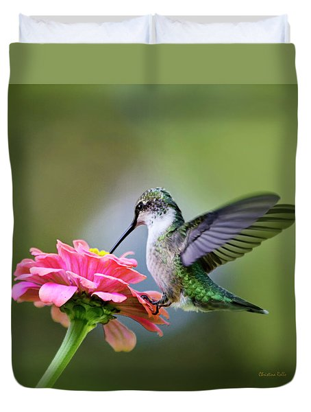 Tranquil Joy Hummingbird Square Duvet Cover