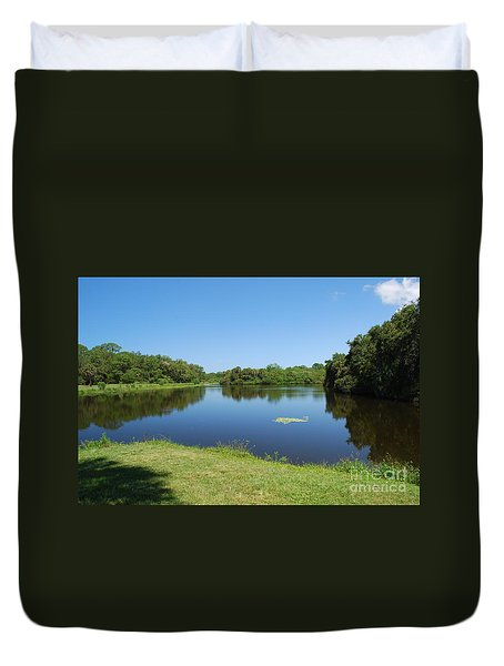 Duvet Cover featuring the photograph Tranquil Lake by Gary Wonning