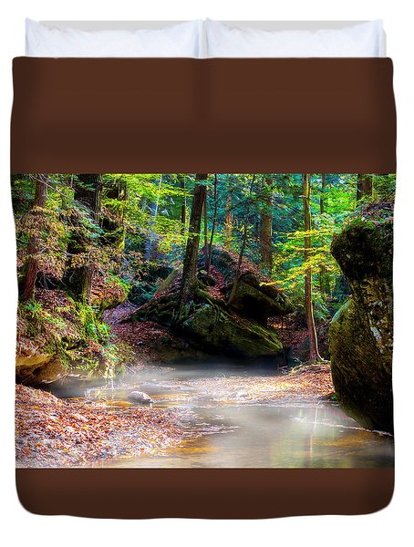 Duvet Cover featuring the photograph Tranquil Mist by David Morefield