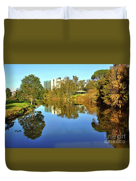 Duvet Cover featuring the photograph Tranquil River By Kaye Menner by Kaye Menner