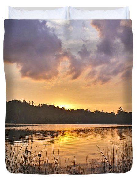 Tranquil Sunset On The Lake Duvet Cover