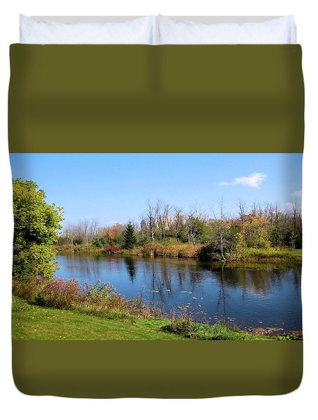 Duvet Cover featuring the photograph Tranquility Across The Rideau by Mario Carini