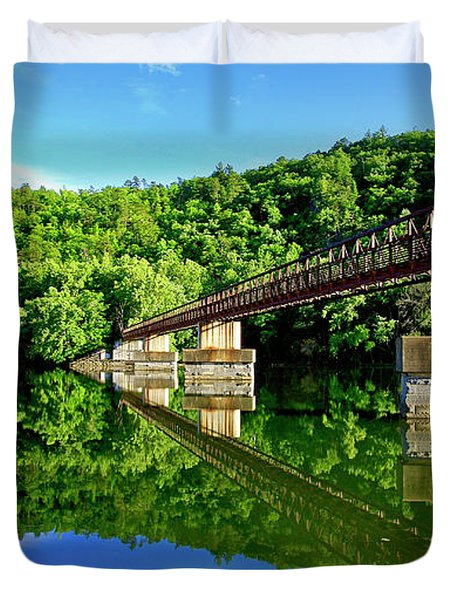 Tranquility At The James River Footbridge Duvet Cover
