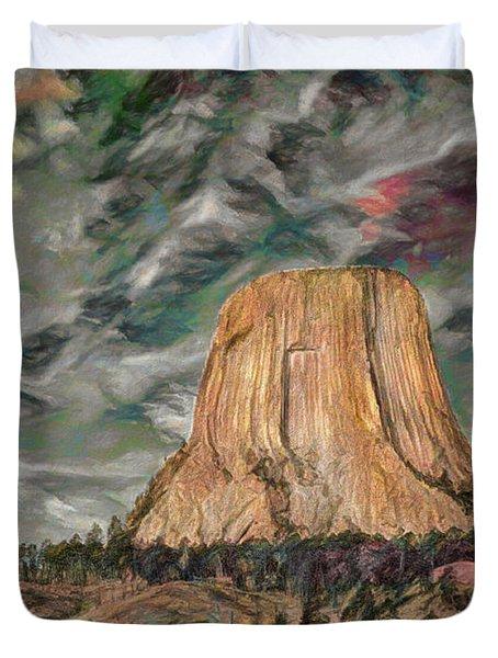Transcendental Devils Tower Duvet Cover
