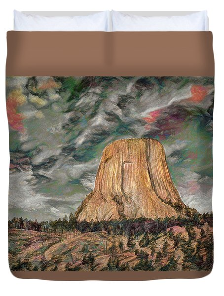 Transcendental Devils Tower Duvet Cover