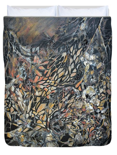 Duvet Cover featuring the mixed media Transformation by Joanne Smoley