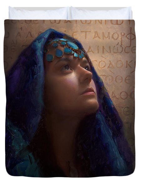Transformation - Woman With Romans 12 2 Written In Original Greek  Duvet Cover