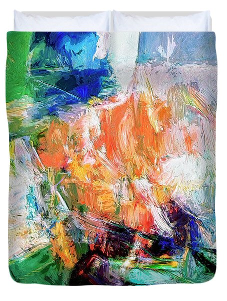 Duvet Cover featuring the painting Transformer by Dominic Piperata