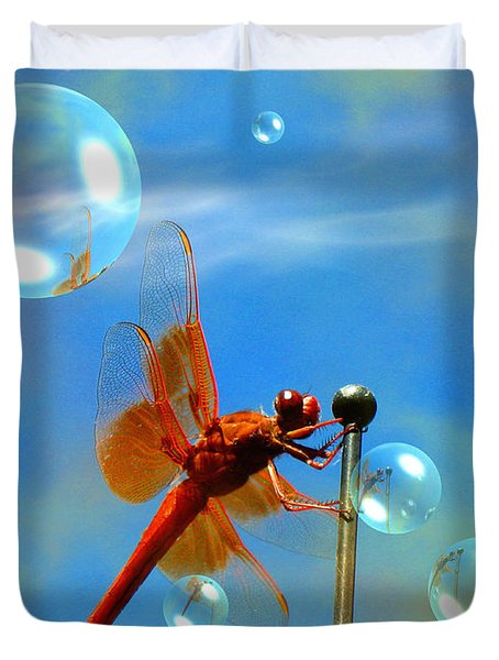 Transparent Red Dragonfly Duvet Cover by Joyce Dickens