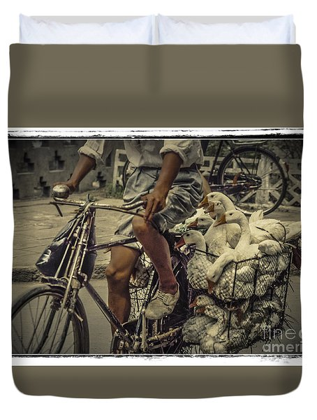 Duvet Cover featuring the photograph Transport By Bicycle In China by Heiko Koehrer-Wagner