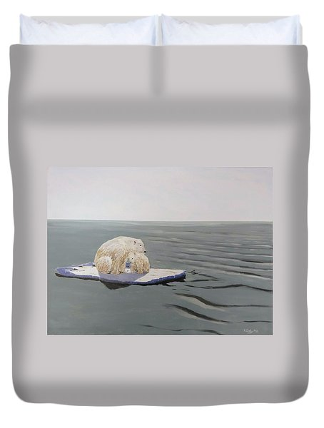 Duvet Cover featuring the painting Stranded by Kevin Daly