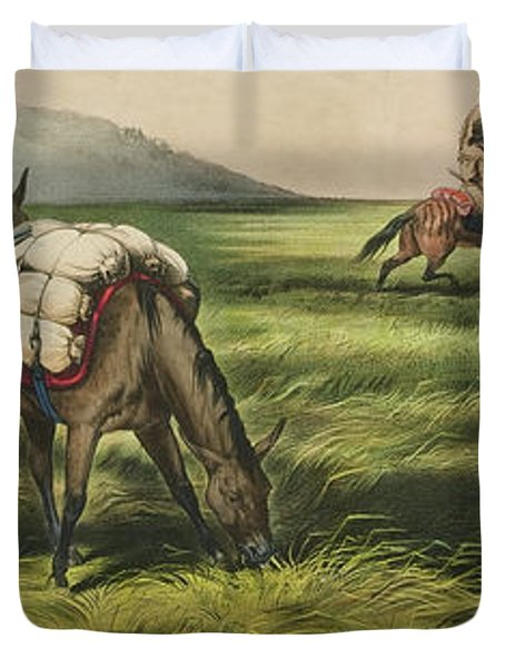 Trappers On The Prairie  Peace Or War Duvet Cover
