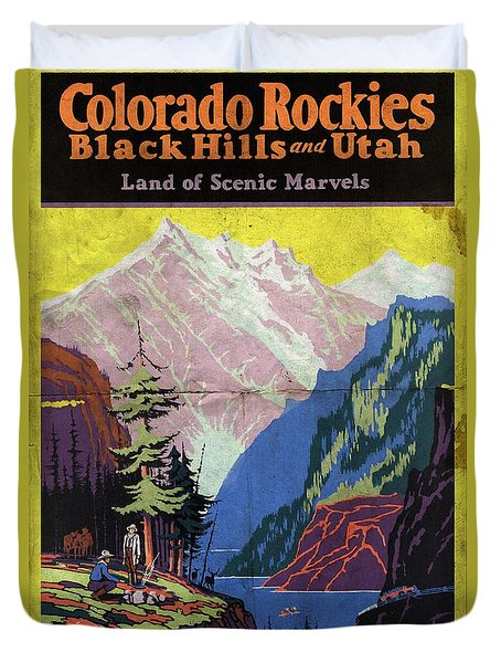 Travel By Train To Colorado Rockies - Vintage Poster Folded Duvet Cover