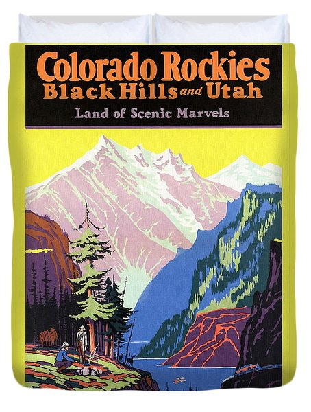 Travel By Train To Colorado Rockies - Vintage Poster Restored Duvet Cover