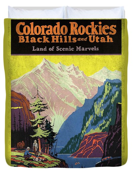 Travel By Train To Colorado Rockies - Vintage Poster Vintagelized Duvet Cover