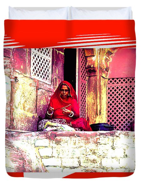 Travel Exotic Woman Sewing In Mehrangarh Fort India Rajasthan 2a Duvet Cover