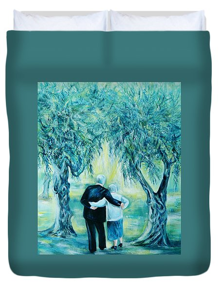 Travel Notebook.olive Groves Duvet Cover by Anna  Duyunova