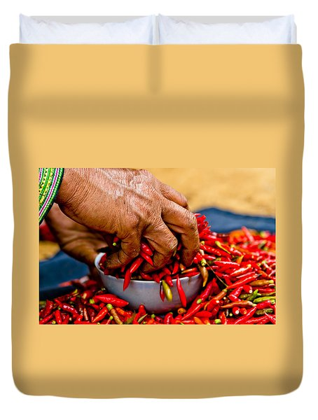 Woman Holding Red Chillies, Can Cau Market, Sapa,vietnam Duvet Cover