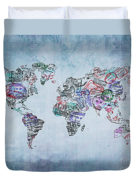 Traveler World Map Blue 8x10 Duvet Cover