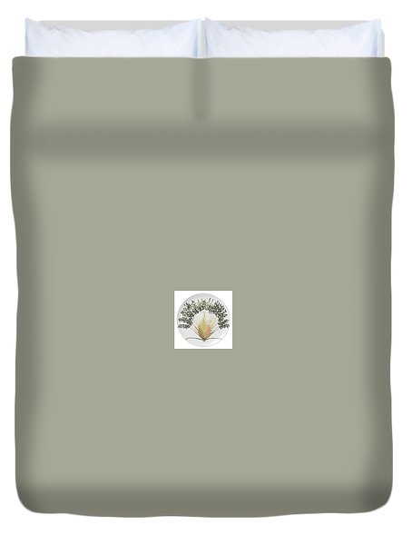 Duvet Cover featuring the digital art Travelers Palm Plate by R  Allen Swezey