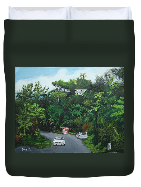 Traveling In Adjuntas Mountains Duvet Cover by Luis F Rodriguez