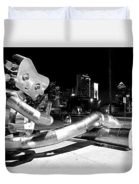 Waiting On The Train 8916 Bw Duvet Cover