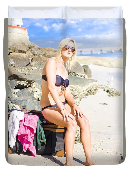 Duvet Cover featuring the photograph Traveling Tourist With Suitcase On Beach Vacation by Jorgo Photography - Wall Art Gallery