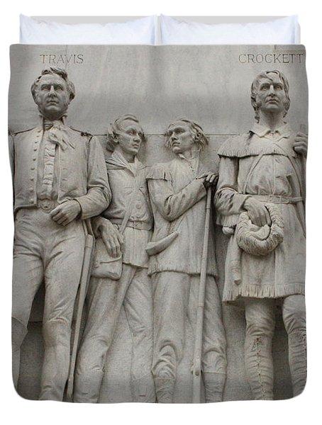 Travis And Crockett On Alamo Monument Duvet Cover