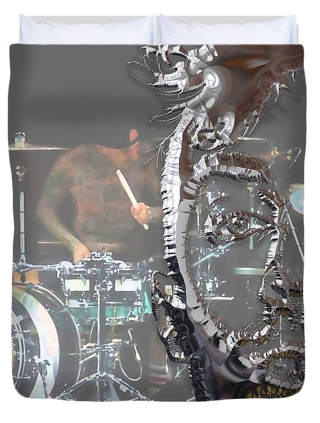 Travis Barker Blink 182 Collection Duvet Cover by Marvin Blaine
