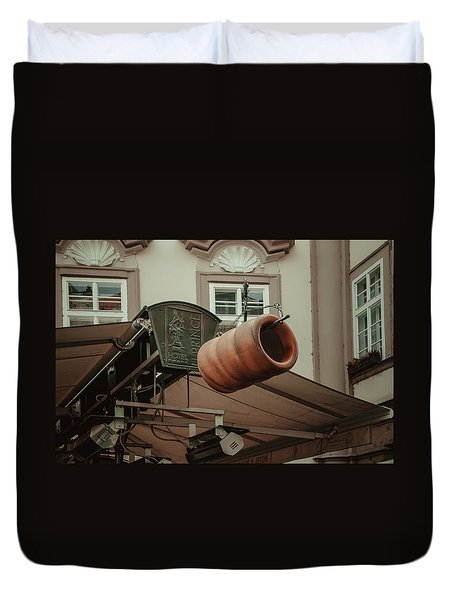 Duvet Cover featuring the photograph Trdelnik. Prague Architecture by Jenny Rainbow
