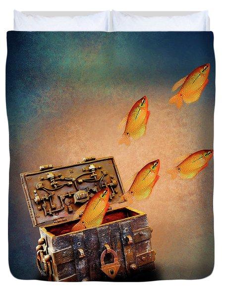 Treasure Chest Duvet Cover by KaFra Art