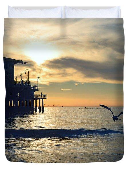 Seagull Pier Sunrise Seascape C1 Duvet Cover