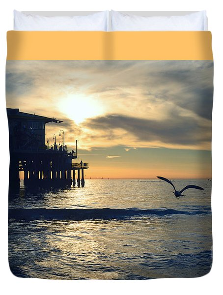 Seagull Pier Sunrise Seascape C1 Duvet Cover