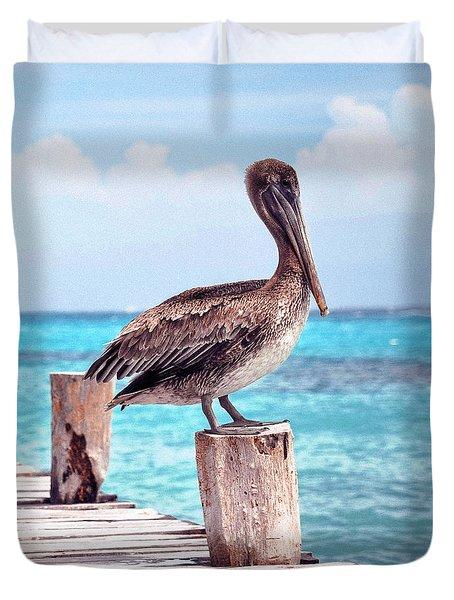 Treasure Coast Pelican Pier Seascape C1 Duvet Cover by Ricardos Creations