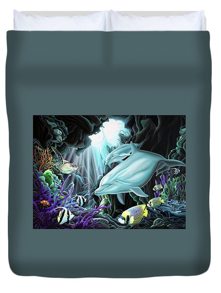 Duvet Cover featuring the painting Treasure Hunter by William Love
