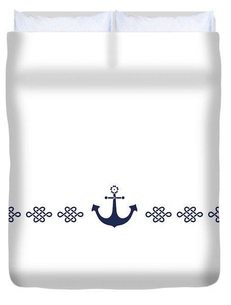 Treasure Knot And Anchor In Blue Duvet Cover