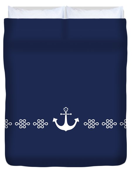 Treasure Knot And Anchor In White Duvet Cover