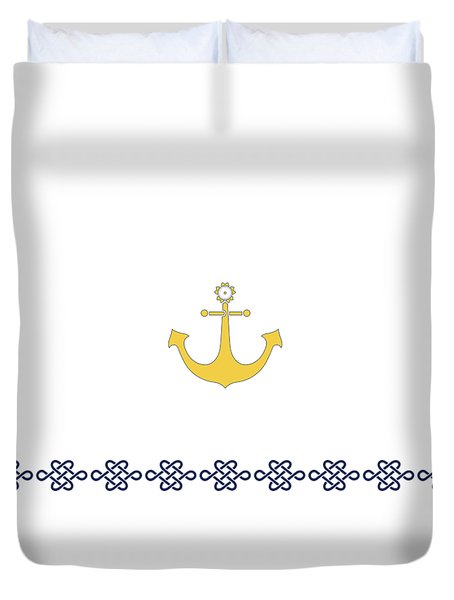 Treasure Knot With Yellow Anchor 2 Duvet Cover