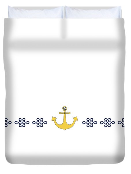 Treasure Knot With Yellow Anchor  Duvet Cover