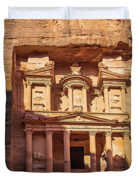 Duvet Cover featuring the photograph Treasury Of Petra In Color by Mae Wertz