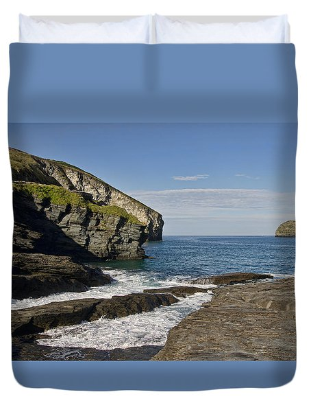 Trebarwith Strand In North East Cornwall Duvet Cover