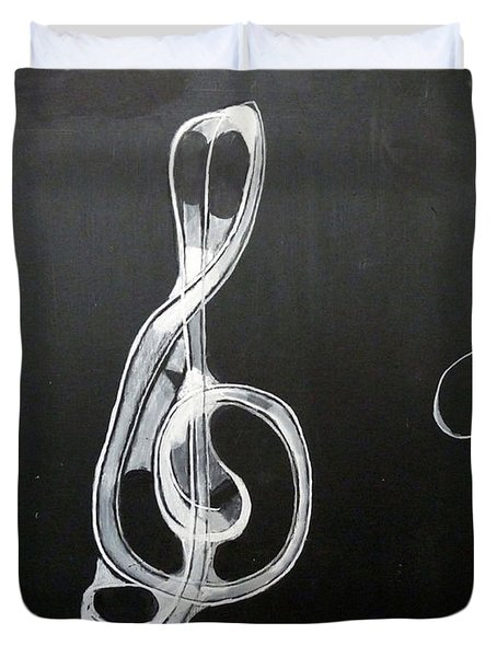 Duvet Cover featuring the painting Treble Clef by Richard Le Page