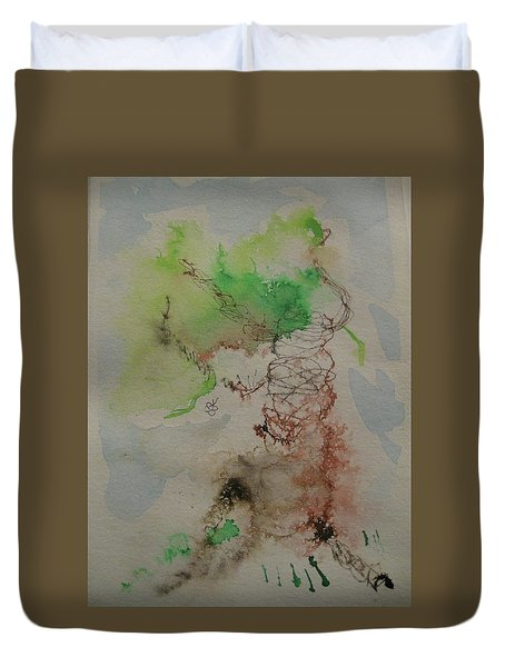 Duvet Cover featuring the drawing Tree by AJ Brown
