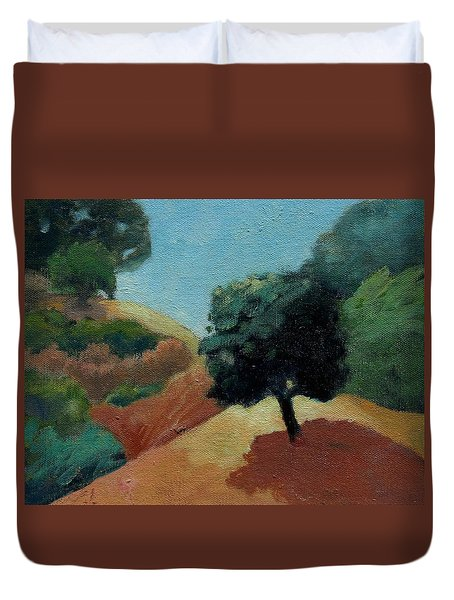 Duvet Cover featuring the painting Tree Alone by Gary Coleman