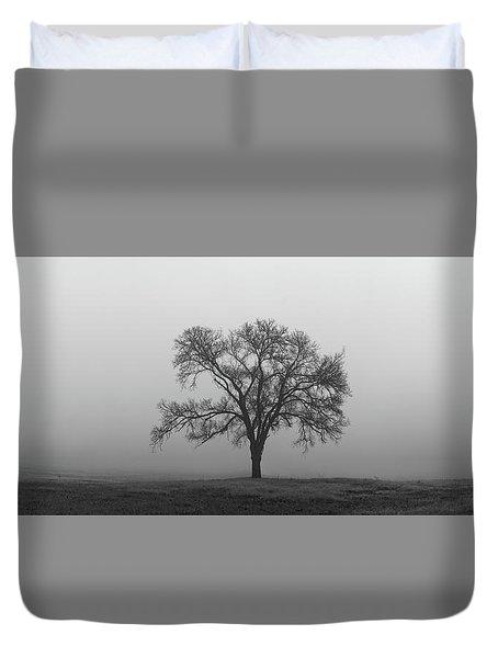 Tree Alone In The Fog Duvet Cover