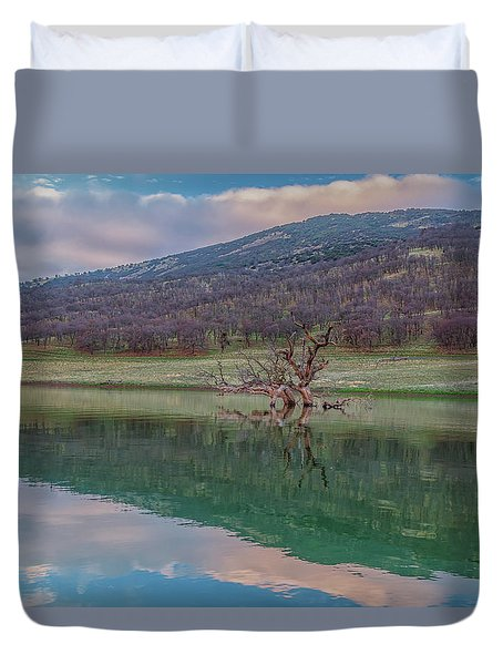 Tree And East Bay Hills At Sunrise Duvet Cover