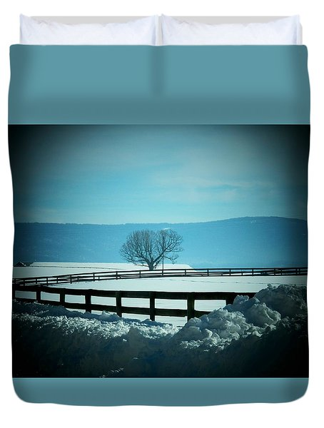Tree And Fence In Snow Duvet Cover by Joyce Kimble Smith