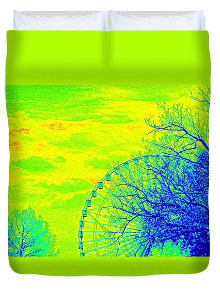 Tree And Ferris Wheel  Duvet Cover